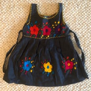 Denim Dress With Hand Embroidery - Made In Mexico